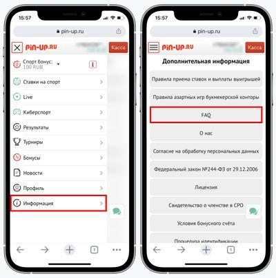 Скриншот раздела FAQ в мобильном меню Пинап
