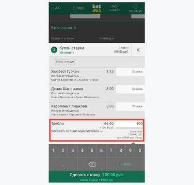 Скриншот купона в bet365