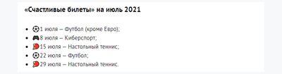 Список всех матчей, которые участвуют в акции БК «Пин Ап» «Счастливый билет» в Июле 2021