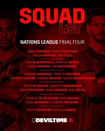 Состав сборной Бельгии на решающие матчи Лиги наций