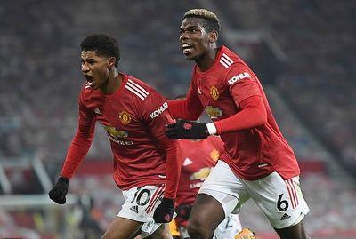 Маркус Рашфорд и Поль Погба в матче Манчестер Юнайтед - Ливерпуль