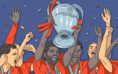 Игроки Ливерпуля поднимают над собой кубок Лиги чемпионов