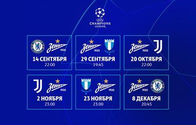 Расписание Зенита в Лиге чемпионов