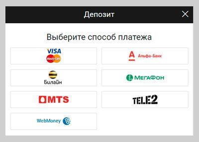 Скриншот со способами пополнения счета