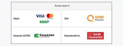 Скриншот доступных способ выплаты в «Париматч»