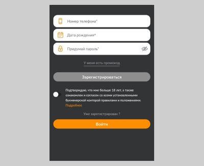 Регистрация в мобильном приложении Винлайн