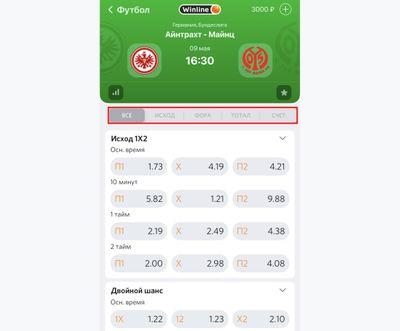 Скриншот экрана приложения с одним матчей
