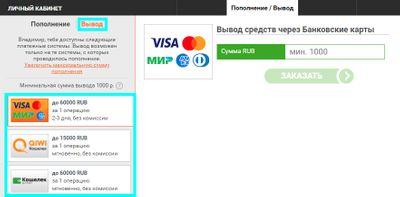 Скриншот страницы вывода денег из «Винлайн»