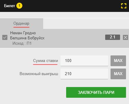 Билет ставки ординаром в Бинго Бум: ставка 100 рублей на победу Немана